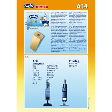 Swirl A 14 Staubfilterbeutel für AEG Typ A 14