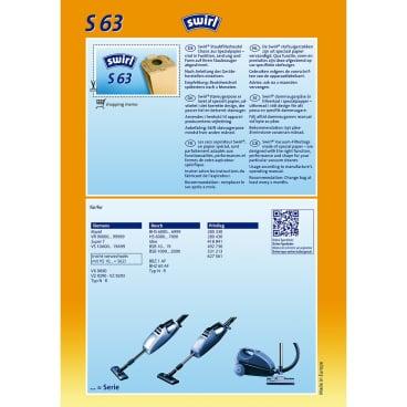 Swirl S 63 Staubfilterbeutel für Siemens/Bosch S 63