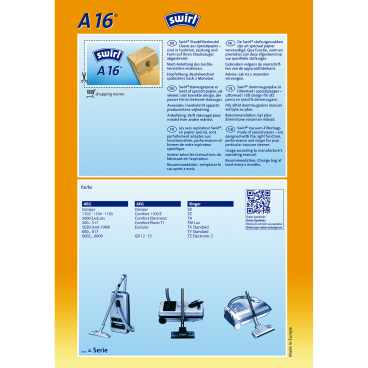 Swirl A 16 Staubfilterbeutel für AEG Typ A 16