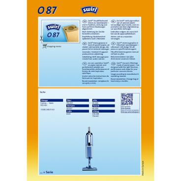 Swirl O 87 Staubfilterbeutel für Omega Typ O 87