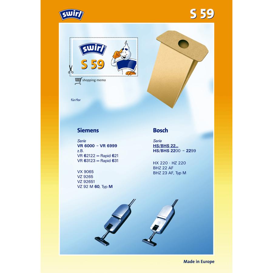 Swirl Staubsaugerbeutel S63 für Siemens Bosch Typ N R