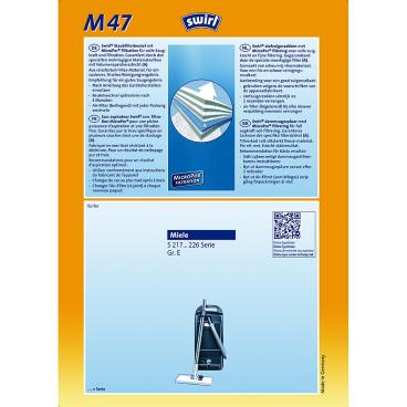 Swirl M 47 MicroPor Staubfilterbeutel für Miele Typ M 47