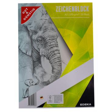 Zeichenblock, 20 Blatt, DIN A4
