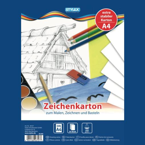 STYLEX® Zeichenkartonblock, 20 Blatt, DIN A4