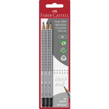 Faber-Castell Grip 2001 Bleistift mit Gummitip, HB