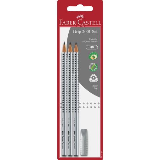 Faber-Castell Grip 2001 Bleistift + aufsteckbarer Radierer, HB