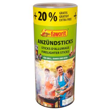 Favorit Anzündsticks,  20% mehr Inhalt 1 Packung = 120 Stück