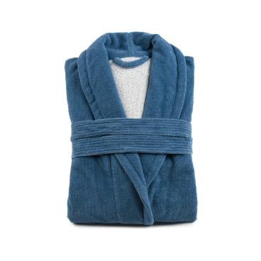 Gözze Turin Soft Bademantel mit Schalkragen, blau