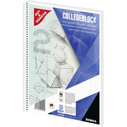 Collegeblock, A4, 80 Blatt, 70 g/m²