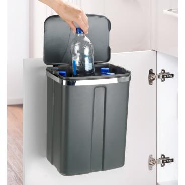WENKO Tür-Abfalleimer, 12 Liter Farbe: Grau/ Silber, glänzend