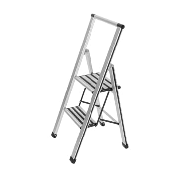 WENKO Alu-Design Klapptrittleiter, 2-stufig