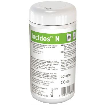 ECOLAB Incides® N Desinfektionstücher 1 Karton = 6 Dosen (1 Dose = 90 Tücher)