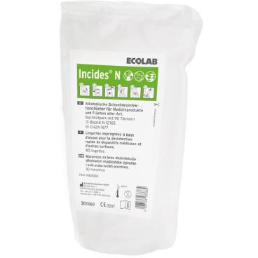ECOLAB Incides® N Desinfektionstücher 1 Packung = 5 Beutel à 90 Tücher