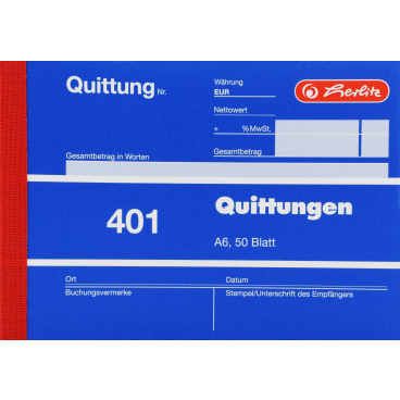 Herlitz 401 Quittungsblock, A6, 50 Blatt