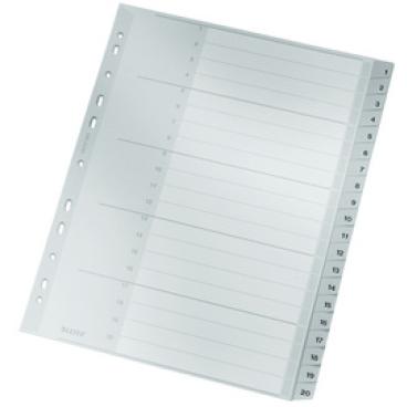 LEITZ Premium Zahlen-Register, Kunststoff, A4 überbreit, grau