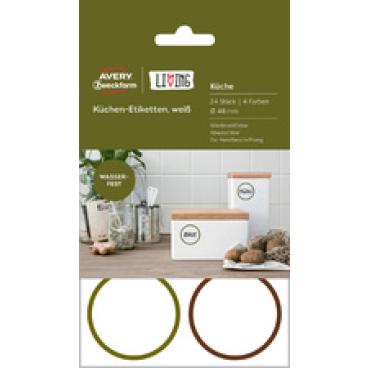 Avery Zweckform LIVING Küchen-Etiketten, wiederablösbar, weiß