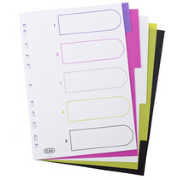 ELBA myColour Blanko Kunststoff-Register, DIN A4 5-teilig