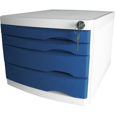 helit the safe Schubladenbox, 4 Schübe Farbe: blau