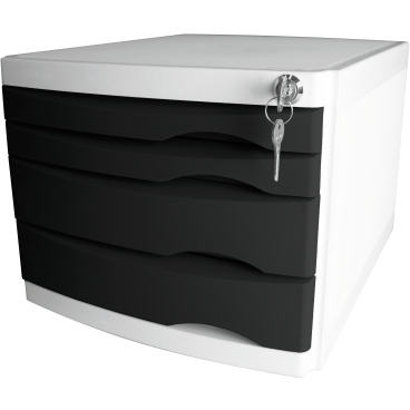 helit the safe Schubladenbox, 4 Schübe Farbe: schwarz