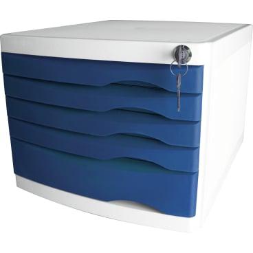 helit the safe Schubladenbox, 5 Schübe Farbe: blau