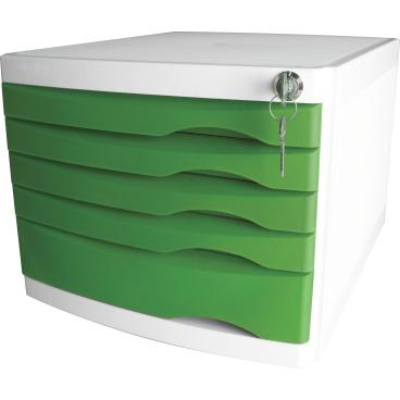 helit the safe Schubladenbox, 5 Schübe Farbe: grün