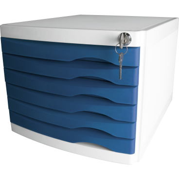 helit the safe Schubladenbox, 6 Schübe Farbe: blau