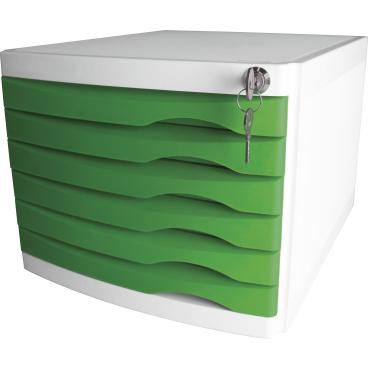 helit the safe Schubladenbox, 6 Schübe Farbe: grün