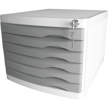 helit the safe Schubladenbox, 6 Schübe Farbe: grau