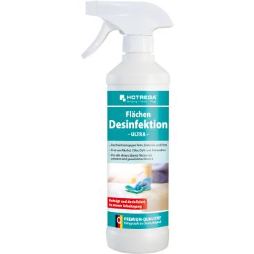 HOTREGA® Ultra Flächendesinfektion 500 ml - Sprühflasche mit Sprühkopf