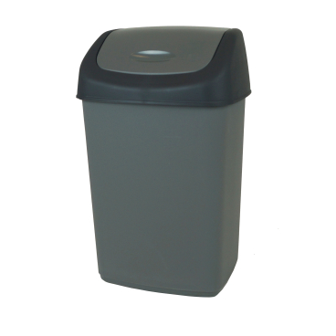 Gies ecoline Push Abfallbehälter mit Schwingdeckel, grau/schwarz