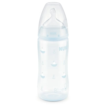 NUK Baby Blue First Choice Babyflasche + Silikon-Ventilsauger