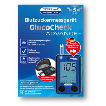 TESTAmed® GlucoCheck ADVANCE Blutzuckermessgerät, 27-teilig