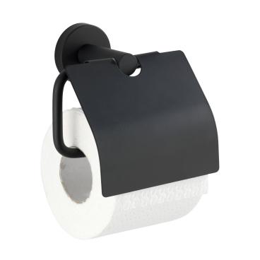 WENKO Bosio Black Toilettenpapierhalter, mit Deckel