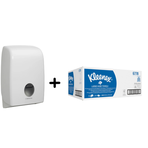 "Kimberly-Clark Aktion ""Aquarius"" Handtuchpapier, groß + Spender"
