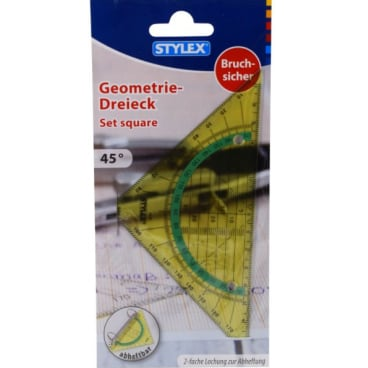 STYLEX® Geodreieck, bruchsicher und abheftbar, 45°