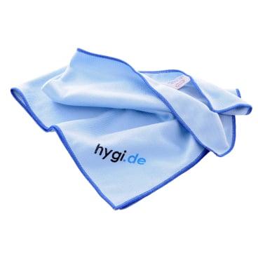 MEGA Clean Professional Mikrofaser Fenstertuch & Geschirrtuch 1 Stück, Farbe: blau, mit hygi.de Logo