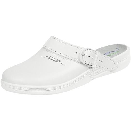 ABEBA Leder-Pantoletten weiß