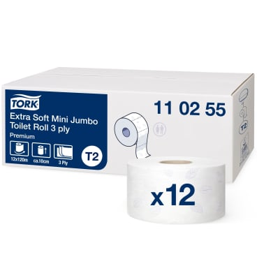 Tork Mini Jumbo Toilettenpapier T2 Premium, 3-lagig, weiß