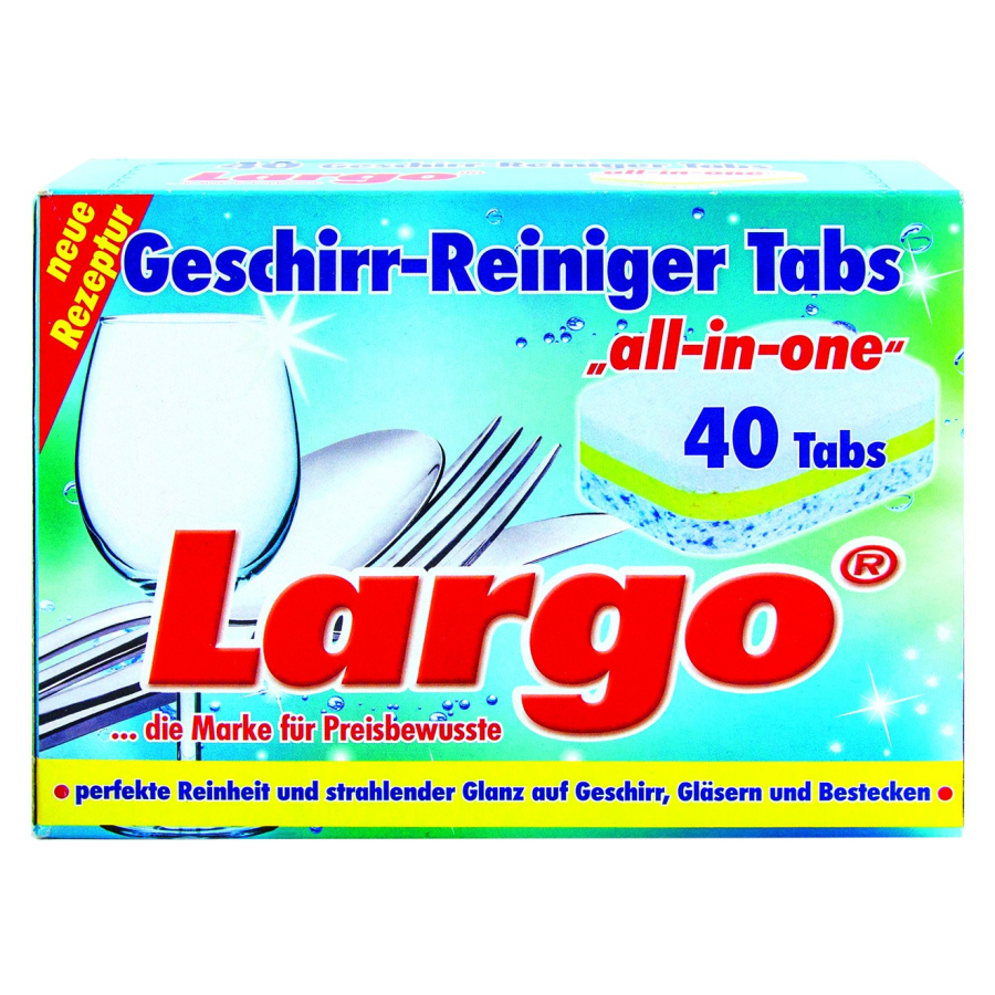 largo geschirr reiniger tabs all in one 1 packung 40 tabs 20 g online kaufen. Black Bedroom Furniture Sets. Home Design Ideas