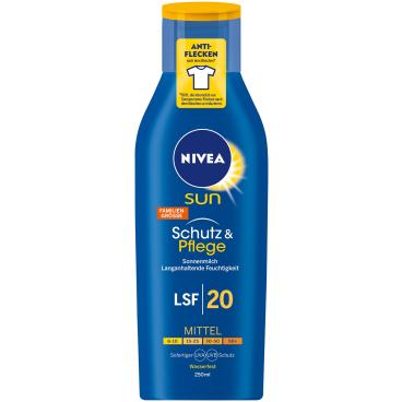NIVEA® Sun Schutz & Pflege Sonnenmilch 250 ml - Flasche, LSF 20