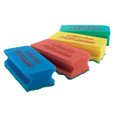 Vileda Professional PUR active SchwammProfi 1 Packung = 10 Stück, 15 x 7 x 4,5 cm, rot