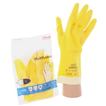 Vileda-Handschuhe - Naturlatex mit Innenbeflockung Größe: M (8)