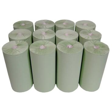 Rollenhandtuchpapier, 1-lagig, grün 1 Paket = 12 Rollen