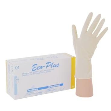 """Eco-Plus Einmalhandschuhe Latex, ungepudert Größe """"L"""" (8-9) - Karton = 10 Packungen"""