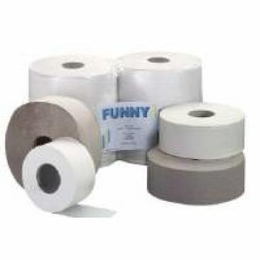 Jumbo-Toilettenpapier, Krepp, 1-lagig, hellgrau ½ Palette = 25 Pakete
