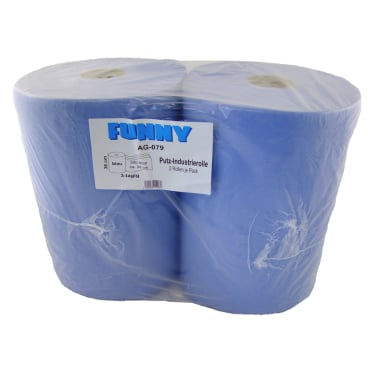 Papierputztuch auf Rolle, 36x38 cm, 3-lagig, blau 1 Palette = 36 Pakete = 72 Rollen