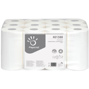 Rollenhandtuchpapier, Tissue, 1-lagig, hochweiß