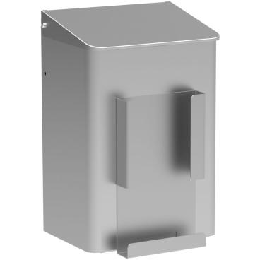 Abfallbehälter mit Klappdeckel, 6 Liter Aluminium, mattsilber eloxiert