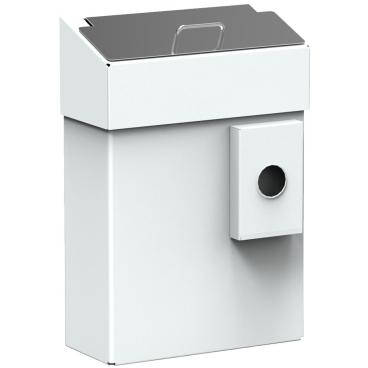 Abfallbehälter mit Schleusenklappe für die Stahlblech, weiß beschichtet