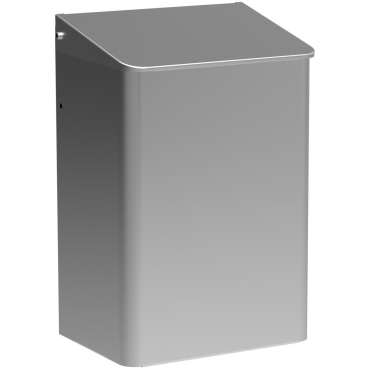 Geschlossene Abfallbehälter, wandhängend Aluminium, mattsilber eloxiert